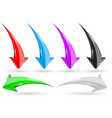 set of 3d arrows shiny icons vector image vector image