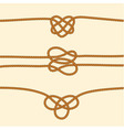 Set of rope borders with decorative knots vector image vector image