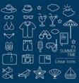 Summer Objects Linear Icons Set vector image vector image