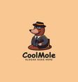 traveling mole cartoon mascot logo template vector image vector image