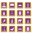 uae travel icons set purple vector image vector image