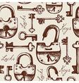 Vintage seamless pattern of locks and keys vector image vector image