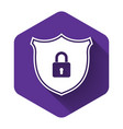 white shield security with lock icon isolated with vector image vector image