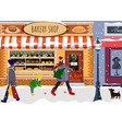 winter street view in new year party bakery shop vector image