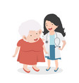woman doctor taking care patient old woman vector image