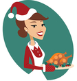 Woman holding Christmas turkey vector image
