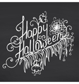 Happy Halloween message design on chalkboard vector image