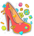 colorful of red womens shoes on white backg vector image