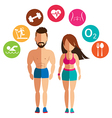 Sporty woman and man for health conscious concept vector image