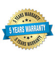 5 years warranty 3d gold badge with blue ribbon vector image