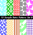10 Retro Patterns Textures Set 8 vector image vector image