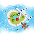 Aerial scene with airplane flying over island vector image vector image