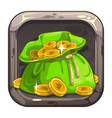 app icon with big bag coins vector image vector image
