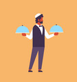 arabic waiter hold covered plate tray lid service vector image vector image