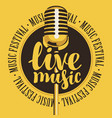 banner for festival live music with microphone vector image vector image