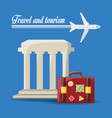 beauty architecture with bag and airplane travel vector image vector image