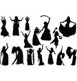 belly dance silhouettes vector image