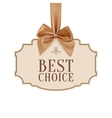 Best choice banner with golden ribbon vector image