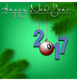 Billiard ball and 2017 on a Christmas tree branch vector image vector image
