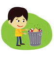 boy disposing rubbish or garbage