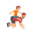 boy riding on fathers back father and son having vector image