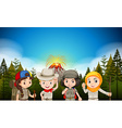Children in hiking outfit by the volcano vector image vector image