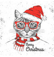 christmas hipster fashion animal cat vector image vector image