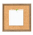 Cork Board With Blank Note Paper And Green Pin vector image vector image