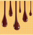 dark chocolate melted on wafer background vector image vector image