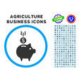 deposit piggy bank rounded icon with set vector image vector image