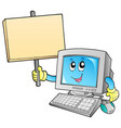 desktop computer with blank board vector image