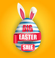easter egg bunnies ears with red ribbon and sale vector image vector image