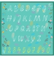 Elegance white alphabet with floral background vector image vector image