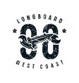 emblem longboard club in retro style vector image vector image