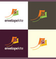 envelope kite logo and icon vector image vector image
