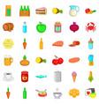 feeding icons set cartoon style vector image vector image