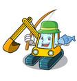 fishing excavator mascot cartoon style vector image vector image