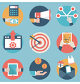 Flat set of modern icons and symbols on business vector image vector image