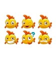 Funny cartoon yellow fish with different emotions vector image vector image