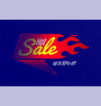 hot sale banner template design with flame and vector image