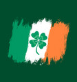 ireland flag with lucky clover vector image vector image