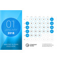 january 2018 desk calendar for 2018 year design vector image vector image
