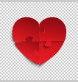 jigsaw puzzle pieces in form of red heart vector image vector image
