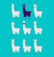 lama alpaca set emotion avatar sad and angry face vector image vector image