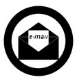 letter the black color icon in circle or round vector image vector image