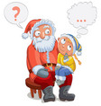 little girl sitting on santas lap and make a wish vector image