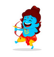 lord rama with bow and arrow vector image vector image
