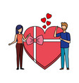 lovers couple with hearts floating and gift vector image