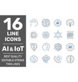 machine learning ai iot line icons set vector image