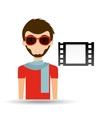 man hipster concept movie cinema film strip icon vector image vector image